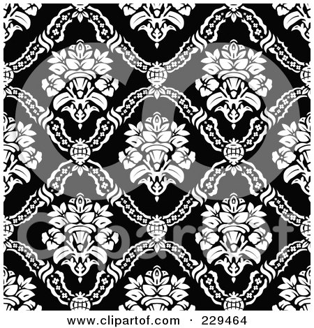 Baroque Background Pattern Texture - Black And White Illustration