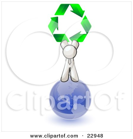 Clipart Illustration of a White Man Standing On Top Of The Blue Planet Earth And Holding Up Three Green Arrows Forming A Triangle And Moving In A Clockwise Motion, Symbolizing Renewable Energy And Recycling by Leo Blanchette