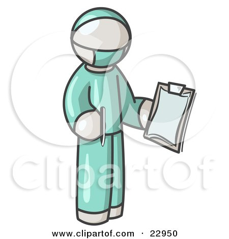 White Surgeon Man in Green Scrubs, Holding a Pen and Clipboard Posters, Art Prints