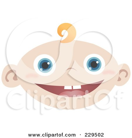 Royalty-Free (RF) Clipart Illustration of a Happy Baby Face by Qiun