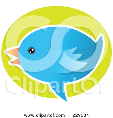 Royalty-Free (RF) Clipart Illustration of a Talking Blue Bird Icon - 3 by Qiun