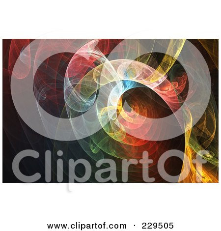 Royalty-Free (RF) Clipart Illustration of a Colorful Spiraling Fractal Background by Qiun