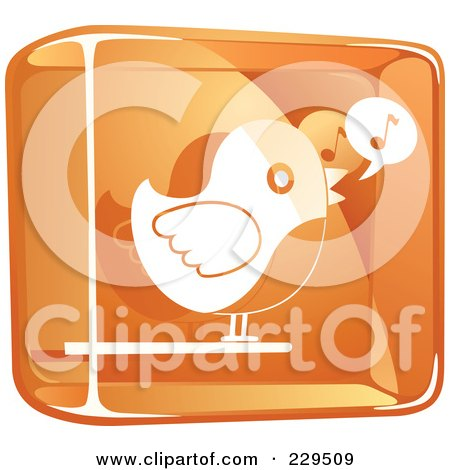 Royalty-Free (RF) Clipart Illustration of an Orange And White Glass Singing Bird Icon by Qiun