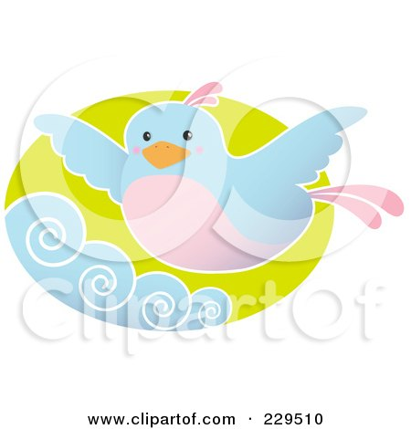 Royalty-Free (RF) Clipart Illustration of a Blue And Pink Bird Flying Above Waves by Qiun