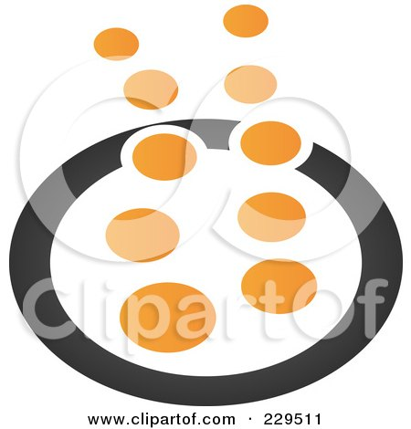 Royalty-Free (RF) Clipart Illustration of an Abstract Black And Orange Logo Icon - 3 by Qiun