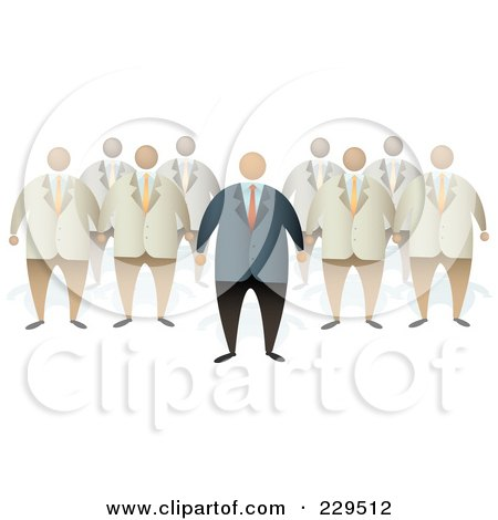 Royalty-Free (RF) Clipart Illustration of a Boss Standing In Front Of A Team by Qiun