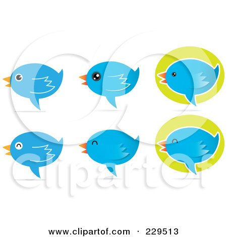 Royalty-Free (RF) Clipart Illustration of a Digital Collage Of Talking Blue Bird Icons With Shadows by Qiun