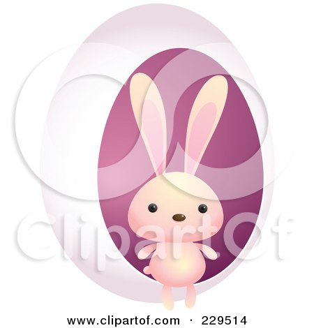Royalty-Free (RF) Clipart Illustration of a Cute Pink Rabbit By A Pink Egg by Qiun