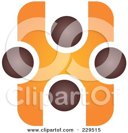Royalty-Free (RF) Clipart Illustration of an Abstract Brown And Orange Logo Icon - 1 by Qiun