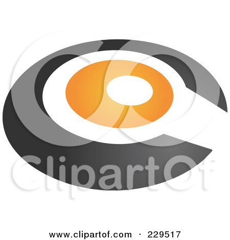 Royalty-Free (RF) Clipart Illustration of an Abstract Black And Orange Logo Icon - 2 by Qiun