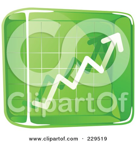 Royalty-Free (RF) Clipart Illustration of a Green Glass Profit Icon by Qiun
