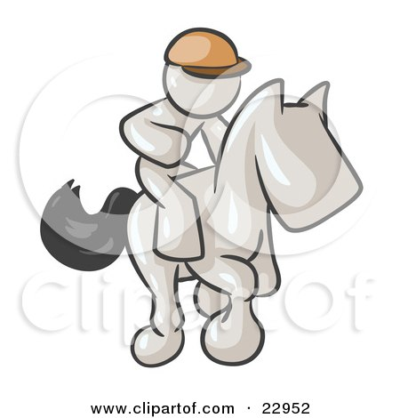 Clipart Illustration of a White Man, A Jockey, Riding On A Race Horse And Racing In A Derby by Leo Blanchette