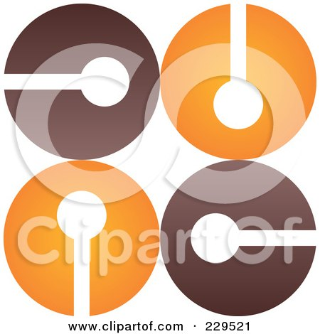 Royalty-Free (RF) Clipart Illustration of an Abstract Brown And Orange Logo Icon - 2 by Qiun