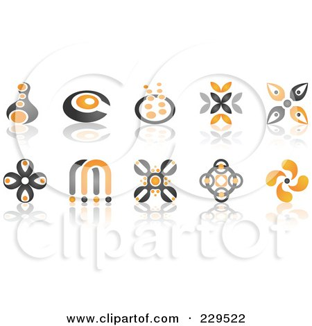 Royalty-Free (RF) Clipart Illustration of a Digital Collage Of Abstract Black And Orange Logo Icons by Qiun