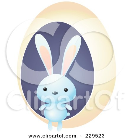 Royalty-Free (RF) Clipart Illustration of a Cute Blue Rabbit By A Yellow Egg by Qiun