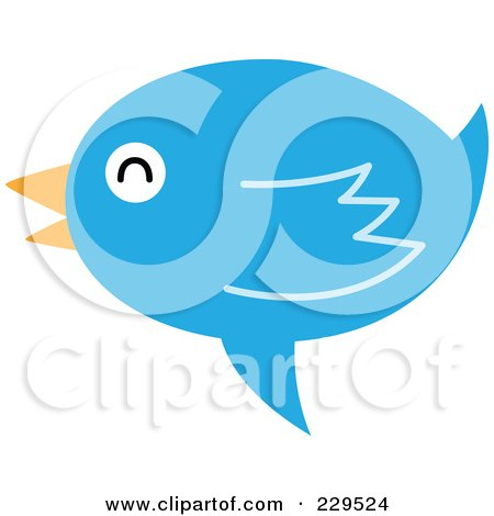 Royalty-Free (RF) Clipart Illustration of a Talking Blue Bird Icon - 4 by Qiun