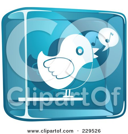 Royalty-Free (RF) Clipart Illustration of a Blue And White Glass Singing Bird Icon by Qiun