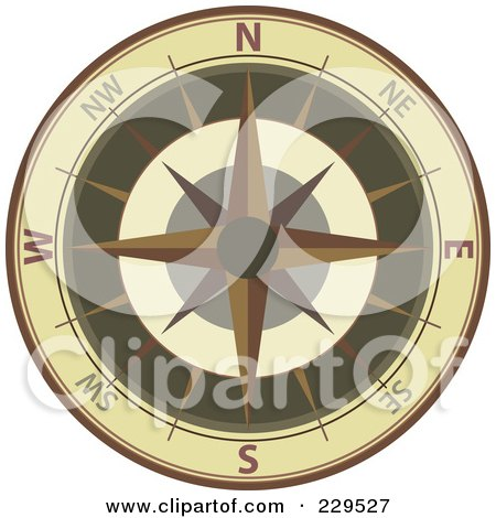 Royalty-Free (RF) Clipart Illustration of an Ornate Compass - 2 by Qiun