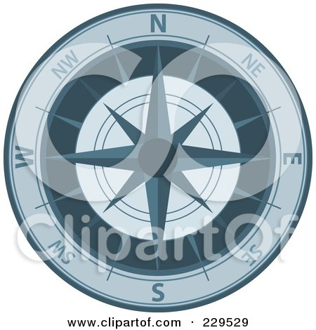 Royalty-Free (RF) Clipart Illustration of an Ornate Compass - 5 by Qiun