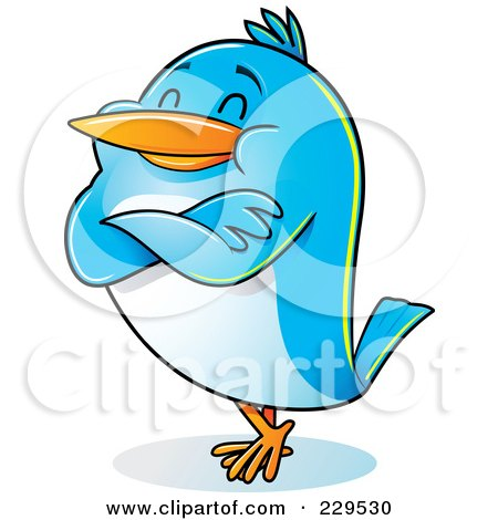 Royalty-Free (RF) Clipart Illustration of a Pleased Blue Bird Standing With His Arms Folded by Qiun