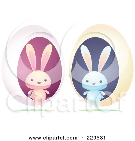 Royalty-Free (RF) Clipart Illustration of a Digital Collage Of Blue And Pink Rabbits With Eggs by Qiun