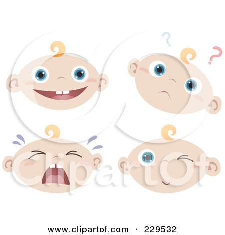 Royalty-Free (RF) Clipart Illustration of a Digital Collage Of Happy, Confused, Crying And Winking Baby Faces by Qiun