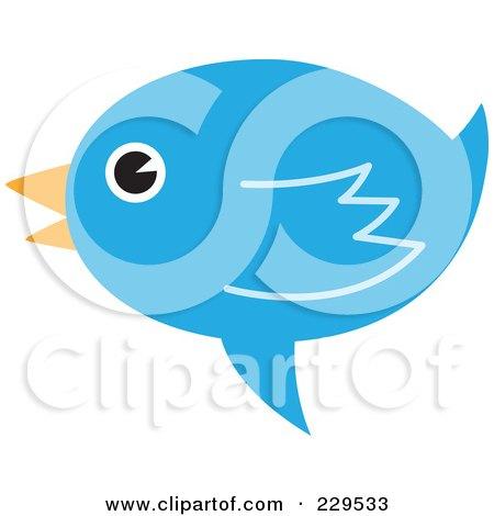 Royalty-Free (RF) Clipart Illustration of a Talking Blue Bird Icon - 1 by Qiun