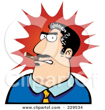 Royalty-Free (RF) Clipart Illustration of an Angry Boss Man Smoking A Cigar Over A Red Burst by Qiun