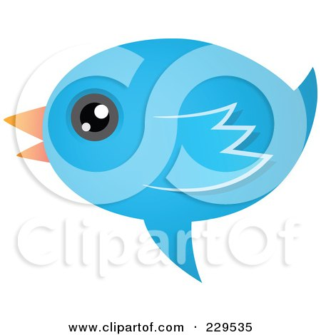 Royalty-Free (RF) Clipart Illustration of a Talking Blue Bird Icon - 2 by Qiun