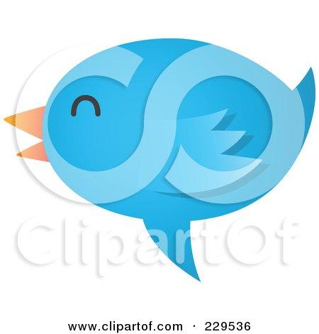 Royalty-Free (RF) Clipart Illustration of a Talking Blue Bird Icon - 5 by Qiun