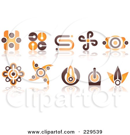 Royalty-Free (RF) Clipart Illustration of a Digital Collage Of Abstract Brown And Orange Logo Icons by Qiun