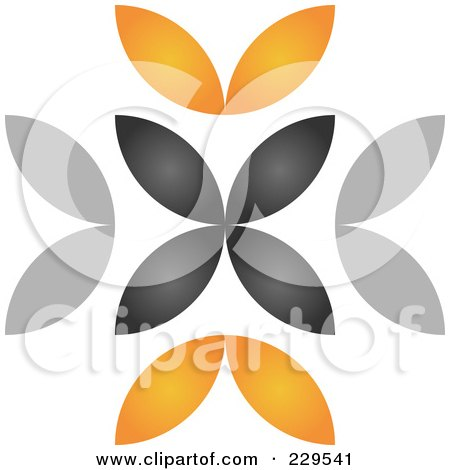 Royalty-Free (RF) Clipart Illustration of an Abstract Black And Orange Logo Icon - 1 by Qiun