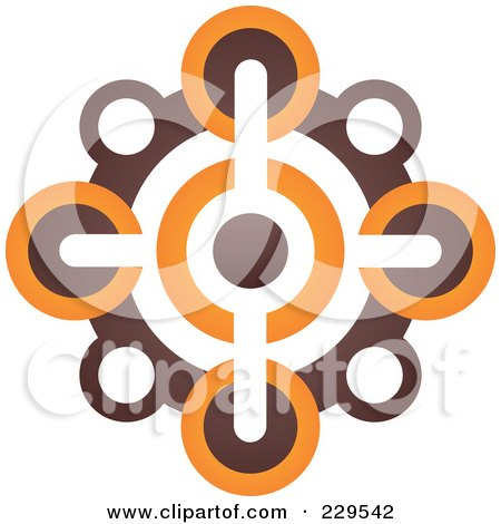 Royalty-Free (RF) Clipart Illustration of an Abstract Brown And Orange Logo Icon - 6 by Qiun