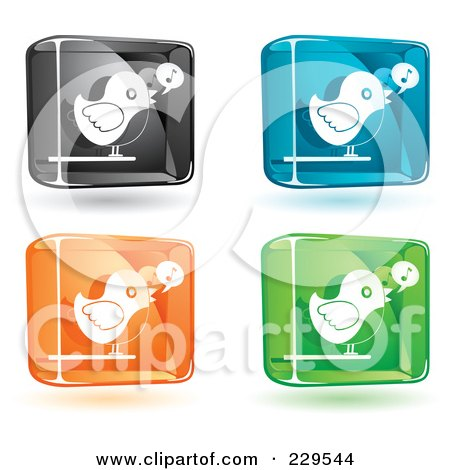 Royalty-Free (RF) Clipart Illustration of a Digital Collage Of Black, Blue, Orange And Green Glass Singing Bird Icons With Shadows by Qiun
