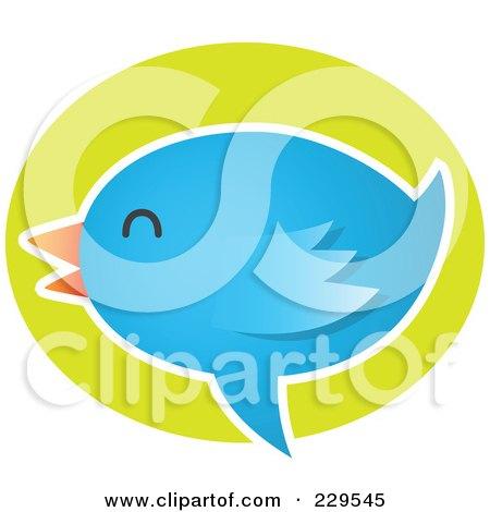 Royalty-Free (RF) Clipart Illustration of a Talking Blue Bird Icon - 6 by Qiun