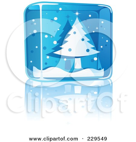 Royalty-Free (RF) Clipart Illustration of a Blue Glass Christmas Tree Icon by Qiun
