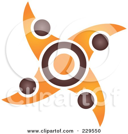 Royalty-Free (RF) Clipart Illustration of an Abstract Brown And Orange Logo Icon - 7 by Qiun