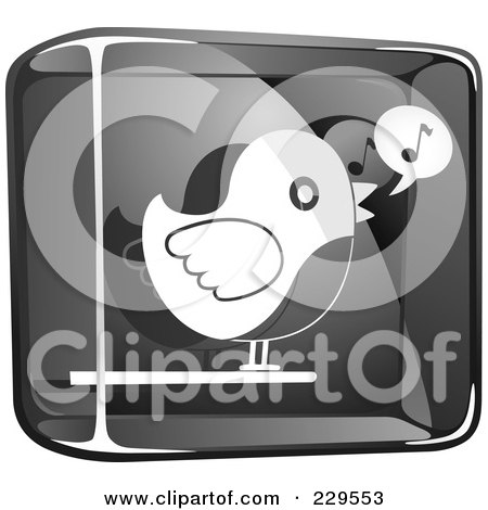 Royalty-Free (RF) Clipart Illustration of a Black And White Glass Singing Bird Icon by Qiun