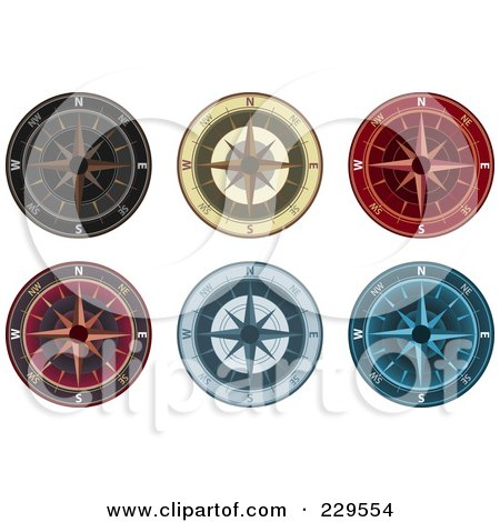 Royalty-Free (RF) Clipart Illustration of a Digital Collage Of Ornate Compasses by Qiun