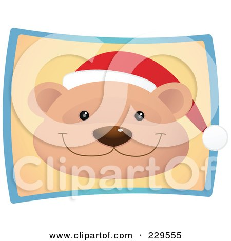 Royalty-Free (RF) Clipart Illustration of a Cute Christmas Bear Wearing A Santa Hat Over A Beige And Blue Rectangle by Qiun