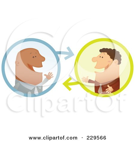 Royalty-Free (RF) Clipart Illustration of Two Businessmen Having A Conversation - 2 by Qiun