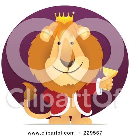 Royalty-Free (RF) Clipart Illustration of a King Lion Holding A Goblet Over A Purple Circle by Qiun