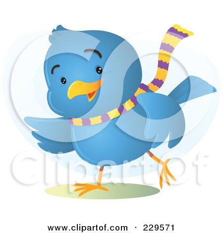 Royalty-Free (RF) Clipart Illustration of a Gesturing Blue Bird Wearing A Scarf by Qiun