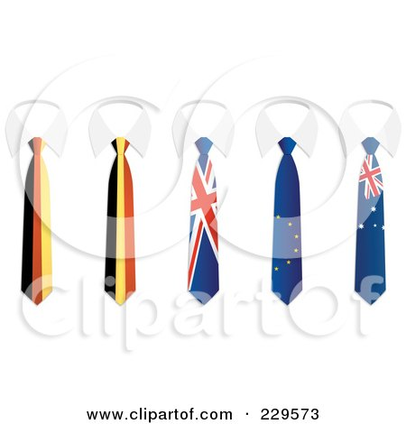 Royalty-Free (RF) Clipart Illustration of a Digital Collage Of German, Belgium, Union Jack, Europe, And Australia Flag Business Ties And White Collars by Qiun