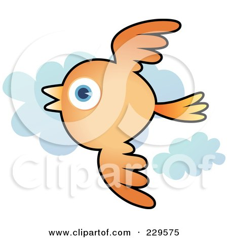 Royalty-Free (RF) Clipart Illustration of an Orange Bird Flying Past Clouds by Qiun