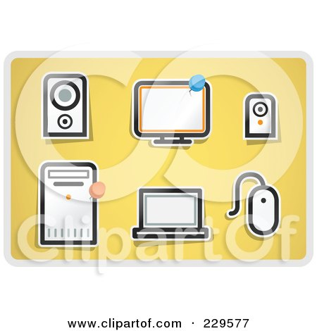 Royalty-Free (RF) Clipart Illustration of a Digital Collage Of Office Icons On Yellow by Qiun
