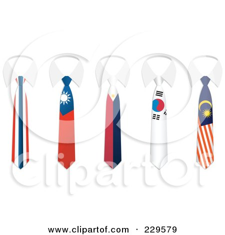Royalty-Free (RF) Clipart Illustration of a Digital Collage Of Thailand, China, Philippines, South Korea, And Malaysia Flag Business Ties And White Collars by Qiun