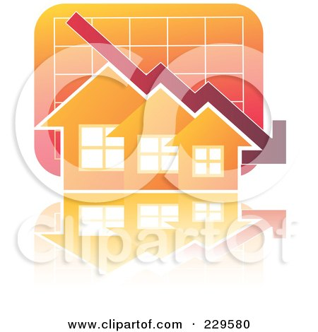 Royalty-Free (RF) Clipart Illustration of a Decline Graph Behind Orange Homes by Qiun