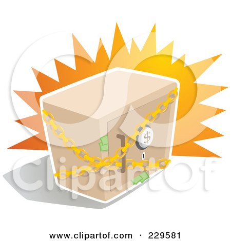 Royalty-Free (RF) Clipart Illustration of a Chained Safe Box With Money Sticking Out Of The Door by Qiun