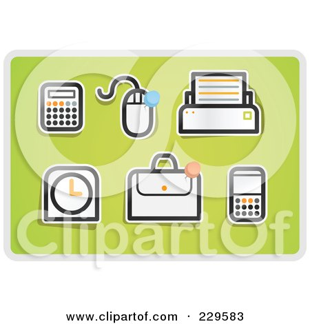 Royalty-Free (RF) Clipart Illustration of a Digital Collage Of Office Icons On Green by Qiun